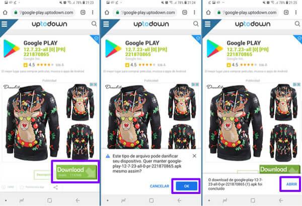 instalar e atualizar Play Store para Android