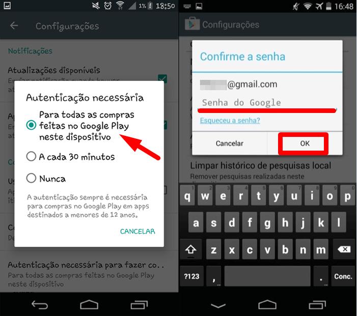 Como fazer o Android solicitar senha do Google Play antes de uma compra 2